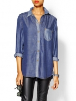 Chambray shirt with contrast collar at Piperlime