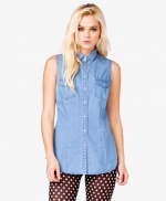 Chambray sleeveless shirt from Forever 21 at Forever 21