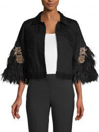 Chandra Feather Trim Jacket at Saks Fifth Avenue