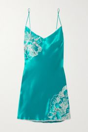 Chantilly Lace-Trimmed Silk-Satin Chemise by Carine Gilson at Matches