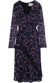 Chantilly lace-trimmed pleated floral-print silk-georgette dress at The Outnet
