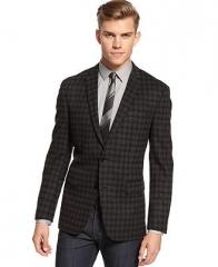 Charcoal Check Sports Coat at Macys