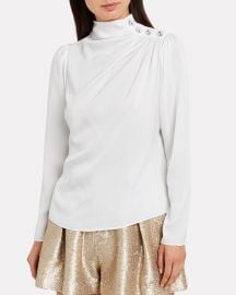 Charity Embellished Silk Blouse at Intermix
