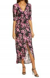 Charles Henry Floral Ruched Tulip Hem Dress   Nordstrom at Nordstrom