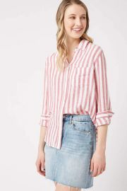 Charli-Carmine Stripe Linen Button Down Shirt at South Moon Under