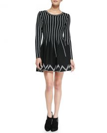 Charlie Jade Dot-Striped Fit-And-Flare Dress  Black White at Neiman Marcus