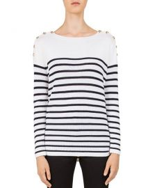 Charlie Striped Button-Shoulder Sweater at Bloomingdales