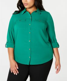 Charter Club Plus Size Button-Front Shirt  Created for Macy s   Reviews - Tops - Plus Sizes - Macy s at Macys