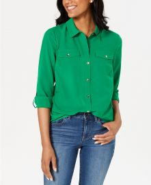 Charter Club Two-Pocket Shirt  Created for Macy s   Reviews - Tops - Women - Macy s at Macys