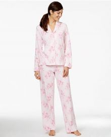 Charter Club Brushed Knit Top and Pajama Pants Set in Pink Floral at Macys
