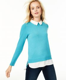 Charter Club Cashmere Embellished Layered-Look Sweater  at Macys