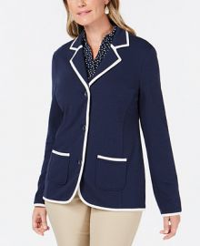 Charter Club Piped-Trim Blazer  Created for Macy s   Reviews - Tops - Women - Macy s at Macys