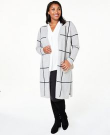 Charter Club Plus Size Cashmere Windowpane Maxi Cardigan  Created for Macy s   Reviews - Sweaters - Women - Macy s at Macys