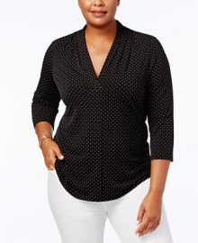 Charter Club Plus Size Dot Print V-Neck Top  Created for Macy s   Reviews - Tops - Plus Sizes - Macy s at Macys