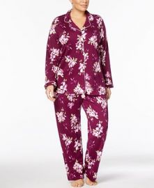 Charter Club Plus Size Floral-Print Cotton Pajama Set at Macys