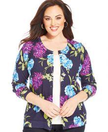 Charter Club Plus Size Long-Sleeve Floral-Print Cardigan at Macys