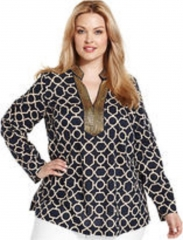 Charter Club Plus Size Top Long-Sleeve Printed Beaded Tunic in Blue at Macys