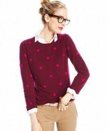 Charter Club Polka-Dot Crew-Neck Cashmere Sweater - Sweaters - Women - Macys at Macys
