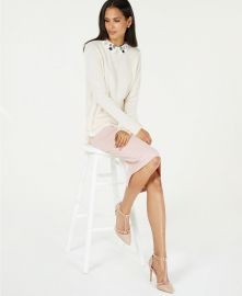 Charter Club Pure Cashmere Layered Look Sweater with Floral Collar at Macys