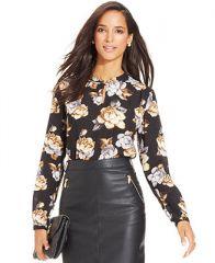 Charter Club Rose-Print Keyhole Blouse - Women - Macys at Macys