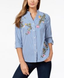 Charter Club Striped Embroidered Shirt at Macys