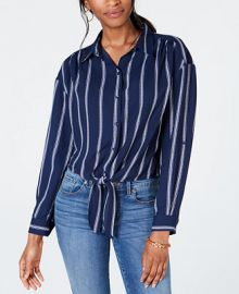 Charter Club Striped Tie-Front Shirt  Created for Macy s   Reviews - Tops - Women - Macy s at Macys