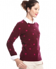 Charter Club Sweater Long-Sleeve Polka-Dot Crew-Neck Cashmere in cherry at Macys