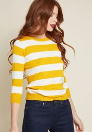 Charter School Pullover Sweater in Mustard Stripes at ModCloth