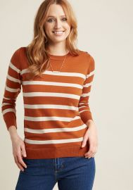 Charter School Pullover Sweater in Striped Orange at Modcloth