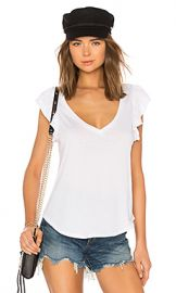 Chaser Flutter Sleeve V Neck Tee in White from Revolve com at Revolve