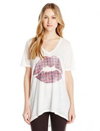 Chaser Womenand39s Winter Kiss Deep V Short Sleeve Tee at Amazon