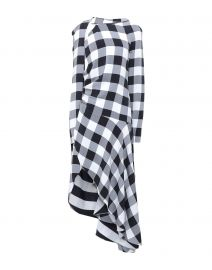 Check Asymmetric Midi Dress by Monse at Yoox
