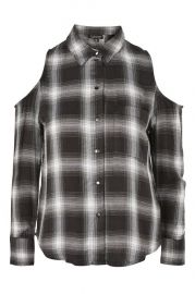 Check Cold Shoulder Shirt at Topshop