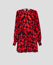 Check Print Scoop Neck Dress by MSGM at MSGM