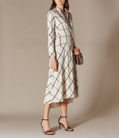 Check Shirt Midi Dress  at Karen Millen