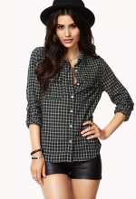 Check button front shirt at Forever 21