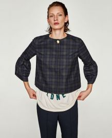 Checked Blazer with Bell Sleeves at Zara