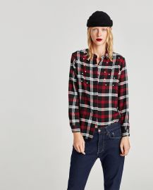 Checked Shirt with Faux Pearls by Zara at Zara