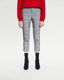 Checked Trousers with Side Stripes at Zara