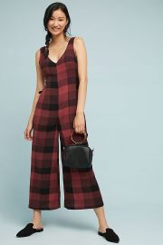 Checked Wide-Leg Jumpsuit at Anthropologie