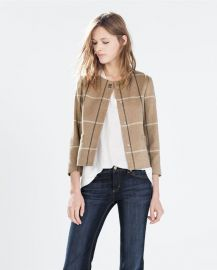 Checked Wool Blazer With Collar Applique at Zara