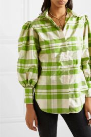 Checked silk-charmeuse blouse at Net A Porter