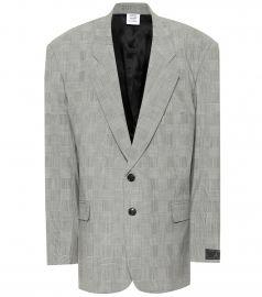Checked wool-blend blazer at Mytheresa