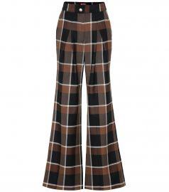 Checked wool-blend wide-leg pants at Mytheresa