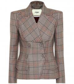 Checked wool jacket at Mytheresa