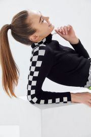 Checkered Half-Zip Cropped Sweater at Urban Outfitters