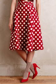 Checkered Midi Skirt at Anthropologie