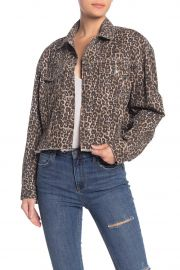 Cheetah Print Crop Cutoff Denim Jacket at Nordstrom Rack