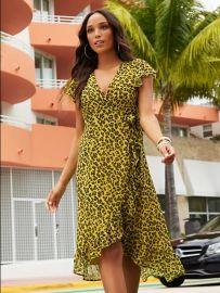 Cheetah Print Hi-Lo Wrap Dress at NY&C