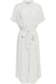 Chellie tie-front striped crepe de chine midi shirt dress at The Outnet